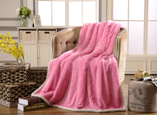 King Size China 100% Polyester Faux Fur Thermal Blanket