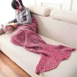Charming Colorful Plain Dyed Children Mermaid Tail Blanket